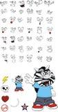 Zebra kid cartoon expression set4 Royalty Free Stock Photography