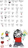Zebra kid cartoon expression set6 Stock Photography
