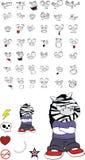 Zebra kid cartoon expression set11 Stock Photos
