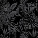 Zebra leaves black style seamless Royalty Free Stock Photography