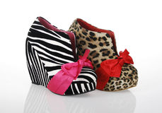 Zebra and Leopard Wedges Shoes Stock Images