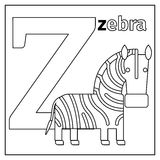 Zebra, letter Z coloring page. Coloring page or card for kids with English animals zoo alphabet. Zebra, letter Z vector illustration Royalty Free Stock Photography