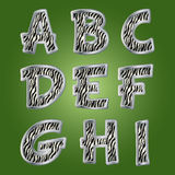 Zebra letters. Vector. Stock Photo