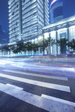 Zebra lines in front business office building Stock Image