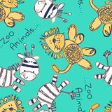 Zebra and lion seamless pattern with embroidery Royalty Free Stock Photos