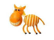 Zebra made of orange. On white background royalty free stock photo