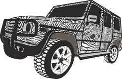 Zebra Off-road car Stock Photography