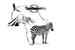 Free Zebra On Africa Map Background With Kilimanjaro Mountain, Vulture And Sun Royalty Free Stock Photography - 158126847