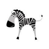 Zebra op een witte achtergrond Het vlakke beeld Stock Afbeeldingen