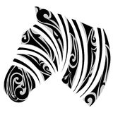 Zebra with  ornamental stripes Stock Images
