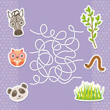 Zebra panda owl  labyrinth game for Preschool Children. Vector Stock Photos