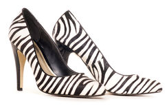 Zebra pattern high heel shoes cut out Royalty Free Stock Images