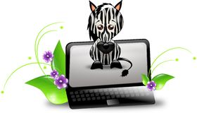 Zebra PC. Black notebook with zebra on the screen Royalty Free Stock Photo