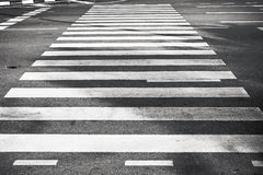 Zebra pedestrian crossing black and white Royalty Free Stock Photos