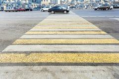 Zebra of pedestrian crosswalk on street Royalty Free Stock Image