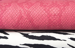 Zebra and pink leather bag Royalty Free Stock Photo