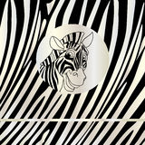 Zebra portrait abstract background. Portrait of the zebra in circle frame on a striped background. Vector file with layers. Silver strips on black background and stock illustration