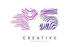 Zebra PS P S zeichnet Buchstaben Logo Design mit magentaroten Farben Stockfotos