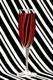 Zebra  red water glass Stock Photo