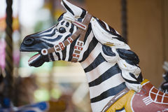 Zebra ride. Zebra horse ride at open fair ground Royalty Free Stock Photo