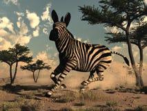 Zebra running - 3D render Stock Image