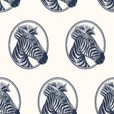 Zebra. Seamless pattern with animals of Africa. Hand drawing of wildlife. Vector illustration art. Black and white. Old engraving. Vintage. Design for fabrics vector illustration