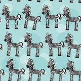 Zebra Seamless pattern with funny cute animal on a blue backgrou Stock Images