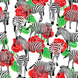 Zebra seamless pattern with red roses. Royalty Free Stock Photo