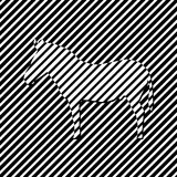 Zebra. Silhouette of animal on a striped background. Royalty Free Stock Image