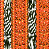 Zebra skin pattern with ornament Royalty Free Stock Images