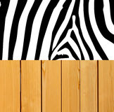 Zebra skin on wood background Stock Photos