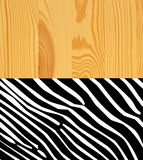 Zebra skin on wood background Stock Image