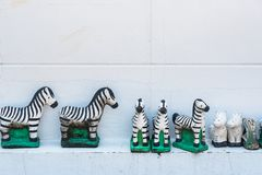 Zebra statue sacrificial offering for thai god ,god toy,pray to Stock Photo