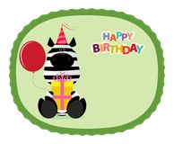 Zebra Sticker. Festive, cute and funny happy birthday sticker stock illustration