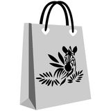 Zebra-striped shopping bag Stock Photography