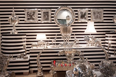 Zebra-striped stand at HOMI, home international show in Milan, Italy Royalty Free Stock Photography