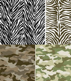 Zebra Stripes and Camouflage Pattern Set Royalty Free Stock Photography