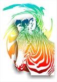 Zebra su un fondo astratto (colore). (Vettore)  Illustrazione Vettoriale