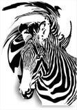 Zebra su un fondo astratto (monocromatico). (Vec Illustrazione Vettoriale