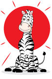 Zebra with sun. funny illustration Stock Photography