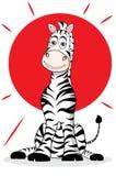 Zebra with sun. funny illustration stock photography