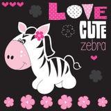 Zebra sveglia con l'illustrazione di vettore del fiore Fotografia Stock