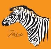 Zebra symbol, logo, sign cartoon art line design side view has word stock illustration
