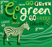 Zebra. Vector illustration - goo green save planet. Zebra. Vector illustration - goo green - save the planet, available in jpg and vector format Stock Photo