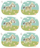 Zebra Visual Game. For children. Illustration is in eps8  mode! Task: Find two identical images (match the pair)! Answer: No. 1 and 4 Stock Photos