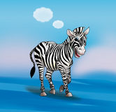 Zebra. Is walking, cartoon character. Light blue sky background and clouds. Watercolor illustration, t-shirt print, art, web design royalty free illustration