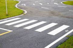 Zebra way on the asphalt road Royalty Free Stock Photography