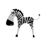 Zebra on a white background. The flat image. Stock Images
