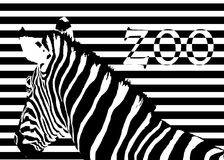 Zebra at zoo. Visual effect with black and white lines creating the image of a zebra. The word zoo appears with the same effect at the right of the image royalty free illustration