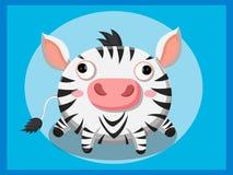 Zebrakarikatur Lustige Karikatur- und vektortierzeichen Lizenzfreies Stockfoto